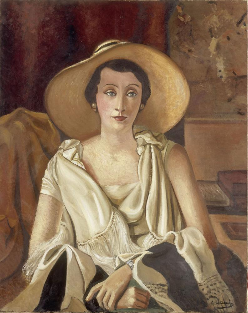 Portrait de madame Paul Guillaume au grand chapeau